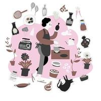 Freehand drawing housewife cooking,woman with element vector