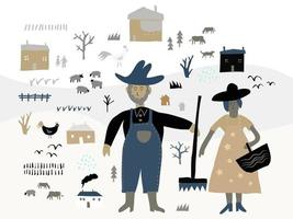 farmers working on the farm, pattern background vector
