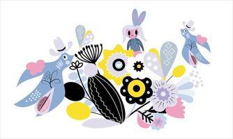 girl in the flower garden element pattern vector