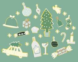Christmas element paper pattern background vector