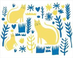 cat in the flower garden pattern background vector