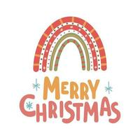 Merry Christmas inspirational lettering card with rainbow Cute print vector