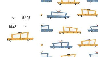 Cute seamless pattern with cars. Taxi. Transport. Police. Vector