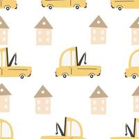 Children's pattern with cars. Hand-drawn  seamless digital print vector