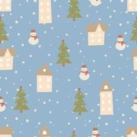 Christmas pattern Winter forest  hand drawn seamless pattern vector