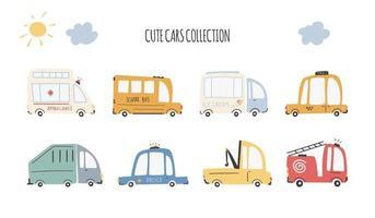 Cute cars collection. Cartoon funny transport. Vector cartoon