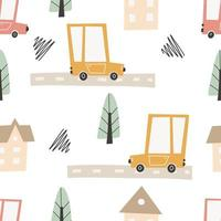 Cute city map with roads and transport. Vector seamless pattern.