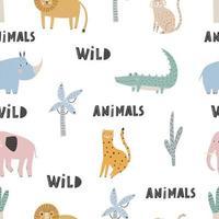 Cute vector seamless pattern with safari animals Digital paper