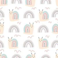 Seamless pattern with cute snails and rainbow vector