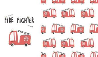 Cute fire truck cars seamless pattern. Vector baby illustration