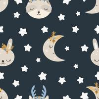 Christmas pattern with animals scandinavian style seamless pattern vector