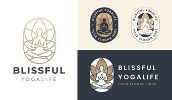 yoga pose silhouette logo blooming lotus flower background vector