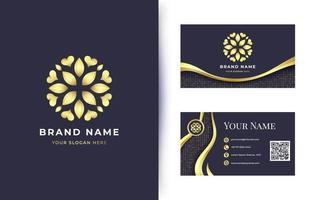 Luxury golden flower mandala logo with business card vector