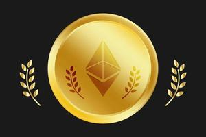 Ethereum Gold Coin, ETH Network Vector Free Vector