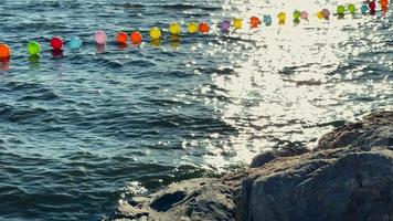 Colorful Balloons in the Sea Water video