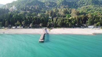 Aerial top view on the beach of Pitsunda, Abkhazia. video