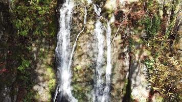 Aerial view of keivu waterfall in autumn in Krasnaya Polyana, Russia. video
