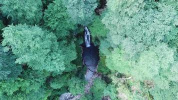 Aerial top view of Waterfall Azhek in forest of Sochi, Russia video