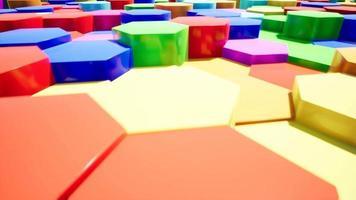 introduzione di esagono astratto a colori per video 4k