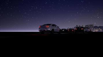 flygfoto över stadens nattrafik 4k video