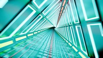 túnel de neón 3d render fondo abstracto 4k video