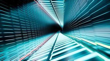 Rendering 3d, tunnel al neon astratto 4k video