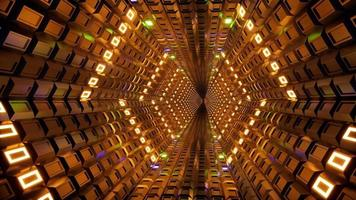 Render 3D de luz ultravioleta fluorescente, túnel de neón brillante 4k video