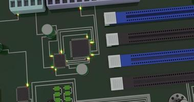 Motherboard top view realistic footage video