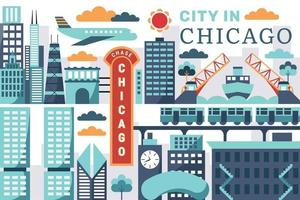 Vector illustration of city in chicago, flat design concept