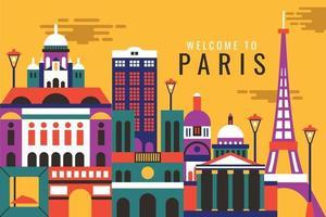 Vector illustration of city in paris, flat design concept