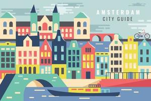 Vector illustration tour of city in amsterdam, flat design concept