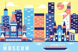 Vector illustration tour in moscow, flat design concept