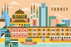 Vector illustration of istanbul turkey, flat design concept
