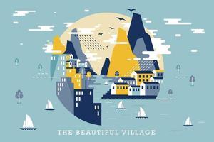 Vector illustration of beautiful village, flat design concept