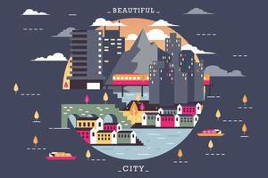 Vector illustration of night in town, flat design concept