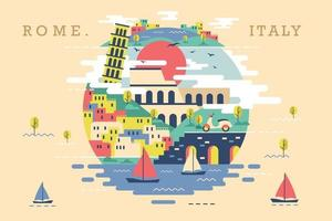 Vector illustration of rome italy, flat design concept