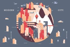 Vector illustration of city scape, flat design concept