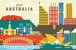 Vector illustration of visit australia, flat design concept