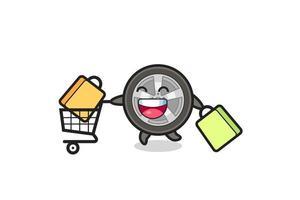 black Friday illustration with cute car wheel mascot vector