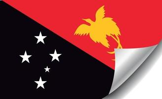 papua new guinea flag with curled corner vector