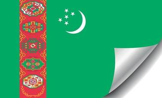 Turkmenistan flag with curled corner vector