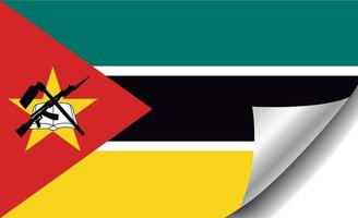 Mozambique flag with curled corner vector