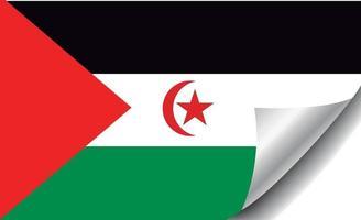 Western Sahara flag with curled corner vector