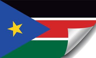 South Sudan flag with curled corner vector