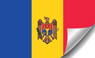 Moldova flag with curled corner vector