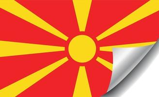 Macedonia flag with curled corner vector