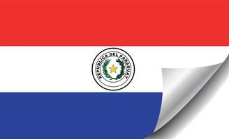 Paraguay flag with curled corner vector