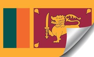 Sri Lanka flag with curled corner vector