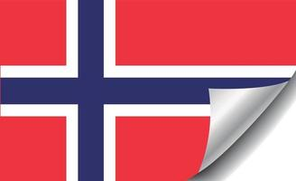 Norway flag with curled corner vector