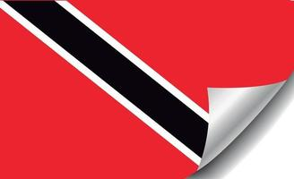 Trinidad and Tobago flag with curled corner vector
